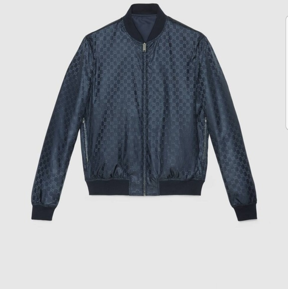 Gucci Other - Gucci bombar jacket reversible blue color